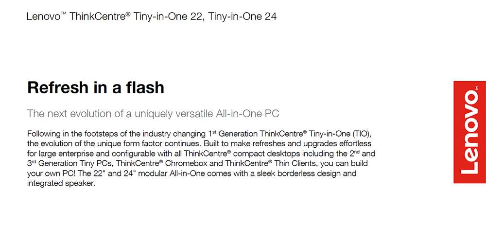 Lenovo™ ThinkCentre® Tiny-in-One 22, Tiny-in-One 24